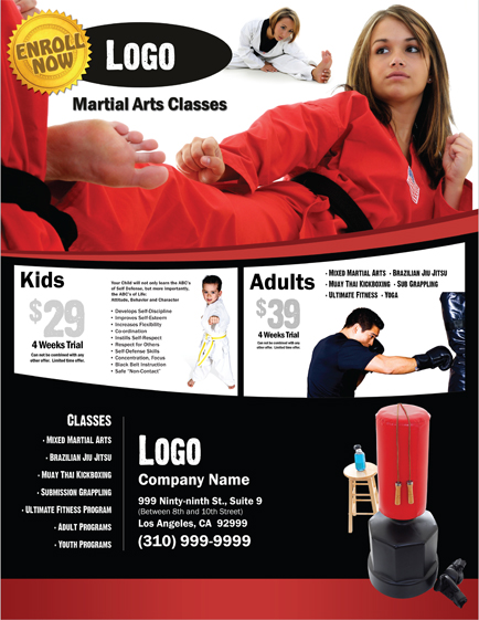 Martial Arts Design Template Postcard 8.5 x 5.5 Flyer ma000501 8.5 x 11