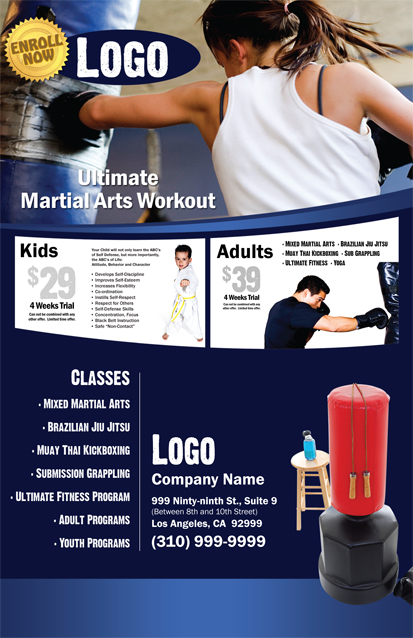 Martial Arts Design Template Postcard 8.5 x 5.5 Flyer ma000502 8.5 x 11