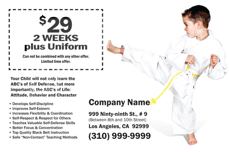 Martial Arts Design Template Postcard ma001002 side 2